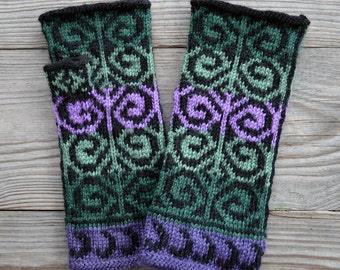 Fingerless Gloves - Green and Purple Fingerless Gloves-Wool Fingerless Gloves-Long Fingerless Gloves   nO 38.