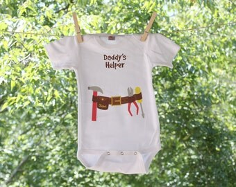 Daddy's Helper Toolbelt Infant Bodysuit Personalized with name