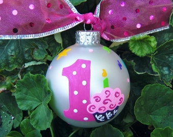 Birthday Cupcake Ornament - Personalized Christmas Ornament, Number One - Hand Painted, Baby's First Birthday Celebration, Party Favor