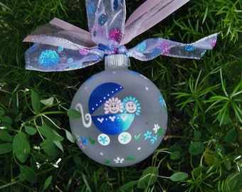 Twins Baby Ornament - Blue Baby Carriage - Personalized Handpainted Glass Ball Ornament, Baby's First Christmas Ornament, Personalized Baby