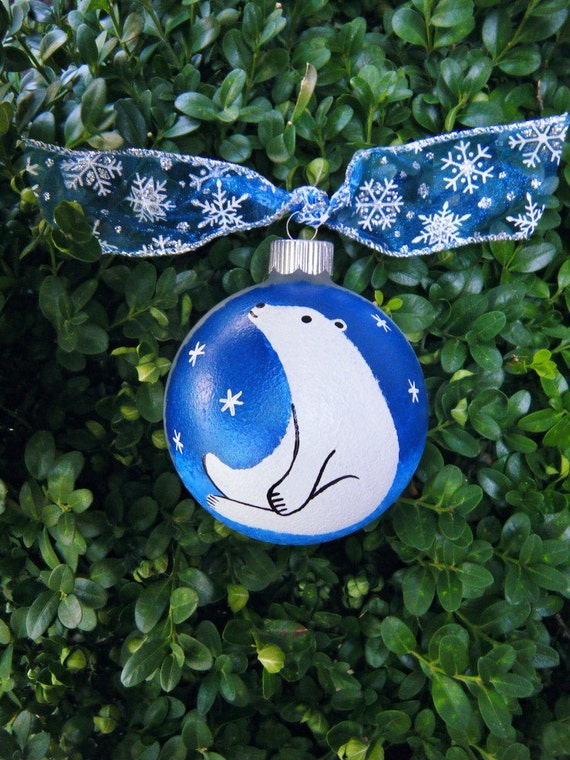 Items similar to Polar Bear Ornament - Hand painted ...