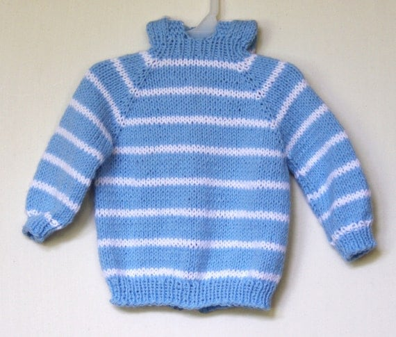 Knitted Blue with White striped  Sweater  Hooded with back zipper   size 6 months  164