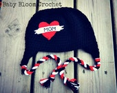 I Heart Mom Tattoo Hat, Beanie Style or With Earflaps