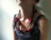 Felted Fuchsia Flowers on green stem necklace scarf