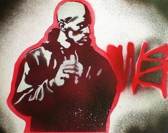 Rakim paintings,set of 3,Eric b & Rakim,stencil art,spray paint on paper,hip hop,music,New York,wall art,pop art,America,street art,graffiti