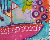 """Weather Stormy Seas Mixed Media Painting PRINT 9""""x12"""""""