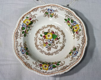 Brown Transferware Saucer Ridgways Apple Blossom