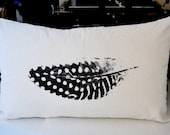 Feathery Pillow Cover in White Textured Cotton Sheeting