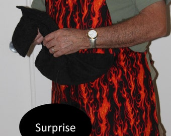 Penis apron, fire,flames, bbq,  Apron, bbq accessories, fireman,bbq tools, funny man apron, man gag gift, funny apron, mature, READY TO SHIP