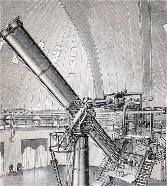1908 Edwardian TELESCOPE print, refractor of the Astrophysical Observatory,  optical telescope very popular in the second half of the 19th
