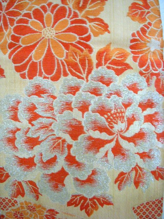 Vintage Japanese Obi Peach Orange Floral Obi with Silver Threads