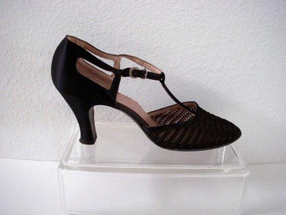 Vintage 20s Black Flapper Shoes 1920s Black Satin T Strap