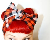 Vintage Inspired Head Scarf, Bow or Bandanna Style, Orange and Navy Checkered Flannel, Fall Collection