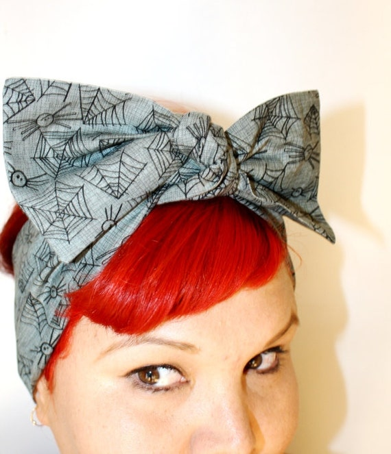 Vintage Inspired Head Scarf, Itsy Bitsy Spider, Retro, Rockabilly