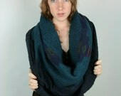 Upcycled Recycled Repurposed Sweater Shawl Shrug Peacock blue Navy Geometric