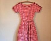 FINAL payment // vintage 50s novelty dress - VALENTINE lanz original pink dress /  XXXS