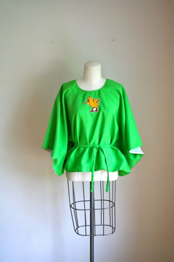 sale / 50% off...vintage reversible poncho - CHICK applique green kimono top