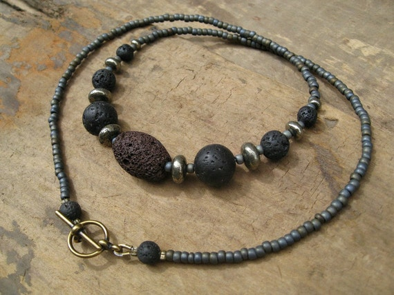 Lava Stone Unisex Necklace, tribal necklace with lava rock and iron pyrite necklace for men or women