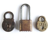 Instant Collection of 3 Vintage Padlocks - Altered Art Mixed Media Projects Display