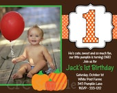 Pumpkin Birthday Invitation, Fall Farm Pumpkin Party Invite, Printable or Printed