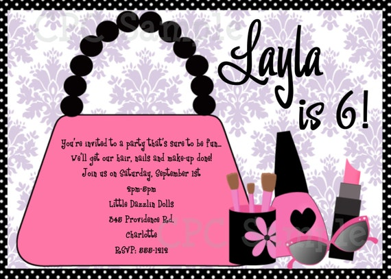 Glamour Girl Birthday Invitation, Printable or Printed by Cutie ...