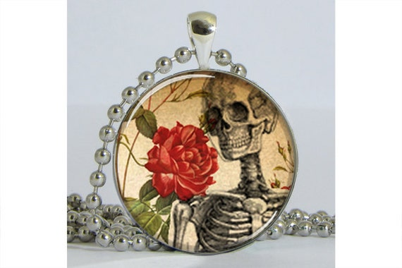 Skeleton with Flowers Silver Plated Necklace with Chain Altered Art Pendant Resin Pendant Picture Pendant Art Pendant Photo Pendant