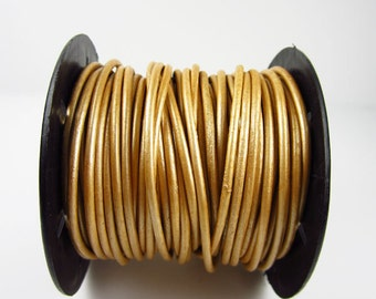 25 Yard Spool - 2mm Metallic Gold Leather Cord