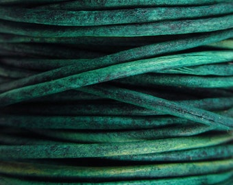 2 Yards - 1mm Naturaly Dyed Turquoise Leather Cord