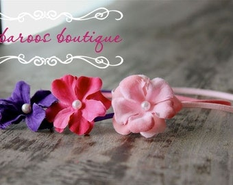 newborn headbands, starter set, baby set, pink, hot pink, purple