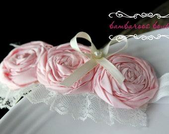 pink headband, pink hair flower, baby headband, flower girl headband