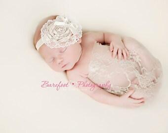Champagne baby headband, newborn photography prop, toddler headband, infant headband, baby headband