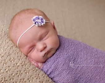 baby headband, newborn headband, small dainty white flower headband, infant headband