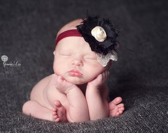 newborn headband, black, ivory, burgundy headband