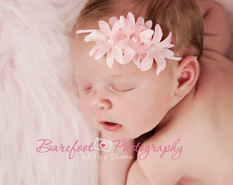pink small flower headband, Newborn Headband, Baby Headband