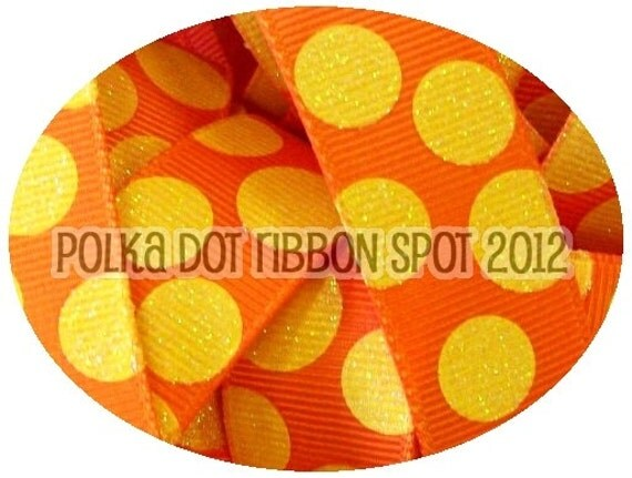 Glitter ribbon 5 yards- 7/8 inch Tangerine & Yellow Sparkle Dots printed grosgrain ribbon- sparkle ribbon