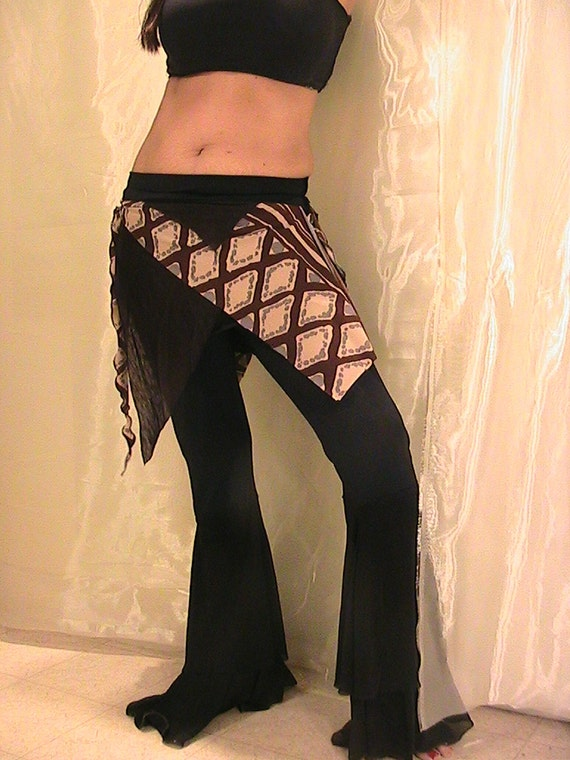 ATS Tribal bellydance Seaweed skirt, panel skirt , apron in black & brown print Reserved for MEGUMI