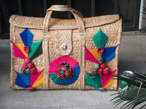 Vintage MEXICAN STRAW TOTE Travel Bag