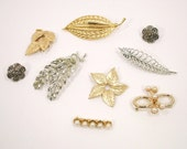 Sale - Collection of Vintage Leaves Jewelry Pieces Altered Lot