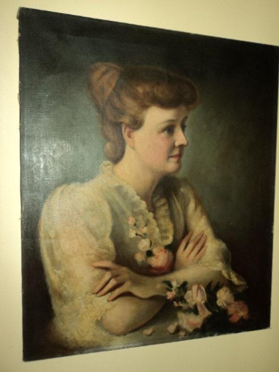 Antique Victorian EDWARDIAN Original Oil Woman Roses & LACE Dress Portrait 19C High Quality