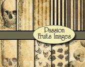 Antique Parchment Skulls- 10 piece digital paper pack-- Instant Download