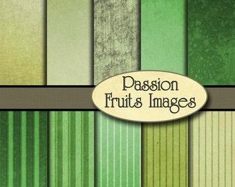 St Patrick's Day Digital Paper Pack- Grunge Distressed Stripes-- Instant Download