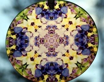 Glass Suncatcher Iris Mandala Boho Chic Sacred Geometry Hippie Kaleidoscope Mod Unique Gift For Her New Age Bohemian Gypsy Eternal Elation