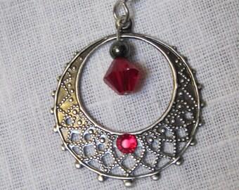 Siam red Swarovski crystal in antique silver filigree hoop earrings