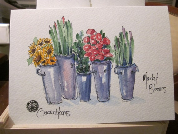 Market BLOOMS Watercolor Card
