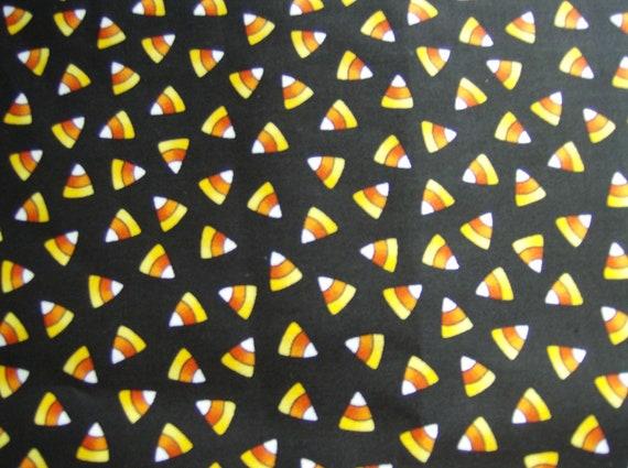 Candy Corn on Black, 100% cotton fabric, 1 yard
