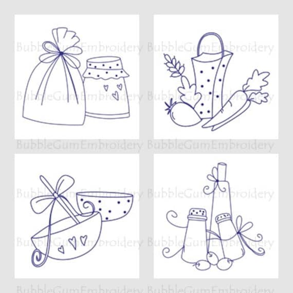 Bluework kitchen 4x4 embroidery designs instant download for 4x4 kitchen ideas
