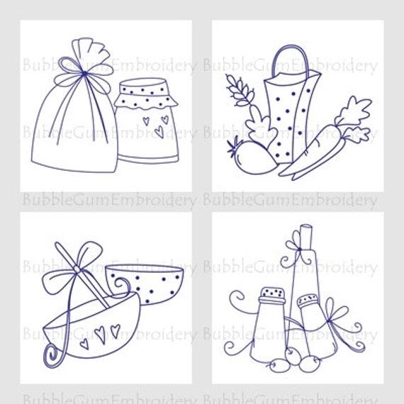 Bluework kitchen 4x4 embroidery designs instant download for Kitchen design 4x4