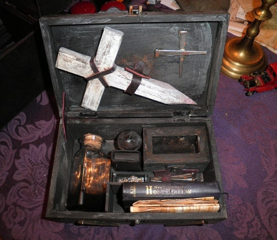 Vampire Killing Kit - Antique Primitive turn-of-the-century style by Gothic Artist CRYSTOBAL, SMALL - Buffy True Blood Dracula Twilight Goth
