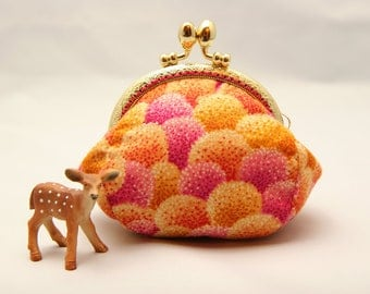 95mm Metal Frame Coin Purse Pouch - Fluffs in pink and orange