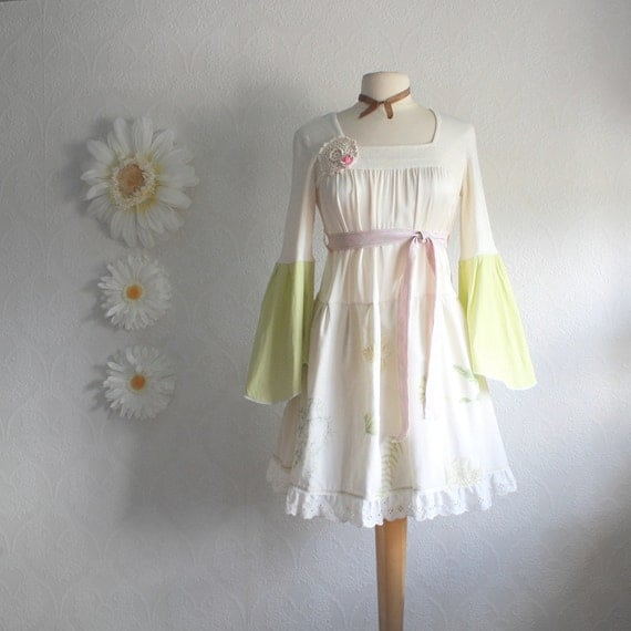Retro Style Shabby Chic Dress Bohemian Chic Cream Silk Lime Green Bell Sleeves Women's Clothing Upcycled Clothes Small 'MAGGIE'